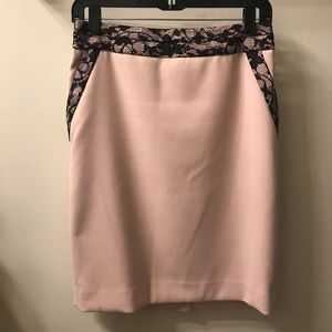 Blush pencil skirt with black lace detail